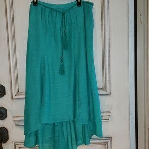 Shamrock green high-low skirt